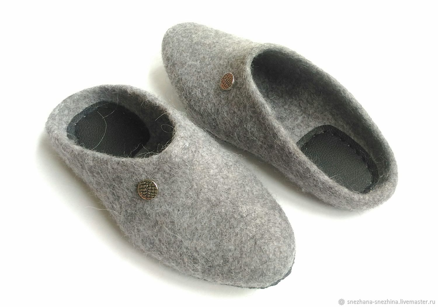 Grey felted Slippers for men, Slippers, Abakan,  Фото №1