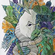 """Картины и панно ручной работы. Ярмарка Мастеров - ручная работа Картина акварелью """"Слон в джунглях"""". Handmade."""