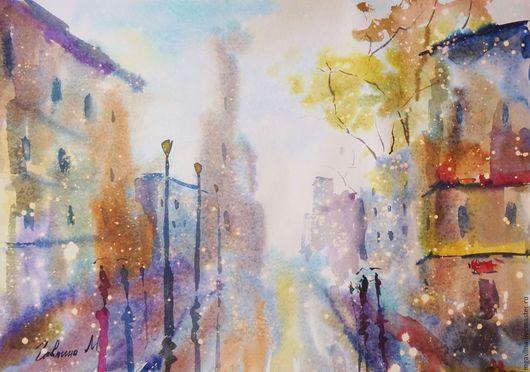 Город ручной работы. Ярмарка Мастеров - ручная работа. Купить Дождь в городе. Handmade. Комбинированный, город, дождь, дома, деревья