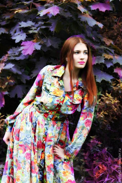 Платья ручной работы. Ярмарка Мастеров - ручная работа. Купить платье рубашка шелк двусторонний. Handmade. Разноцветный, индивидуальный пошив