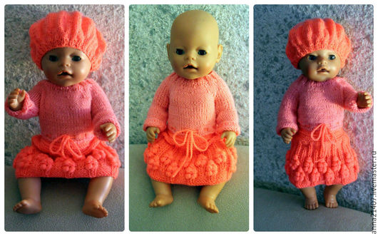 Одежда для кукол ручной работы. Ярмарка Мастеров - ручная работа. Купить Платье и берет. Handmade. Коралловый, одежда для куклы