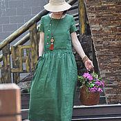 Платья ручной работы. Ярмарка Мастеров - ручная работа Травяное зеленое льняное платье. Handmade.