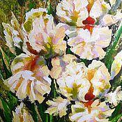 Картины и панно handmade. Livemaster - original item painting n canvas painting for interior white irises flowers acrylic. Handmade.