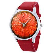 Дизайнерские наручные часы Цитрусовая Долька/red c