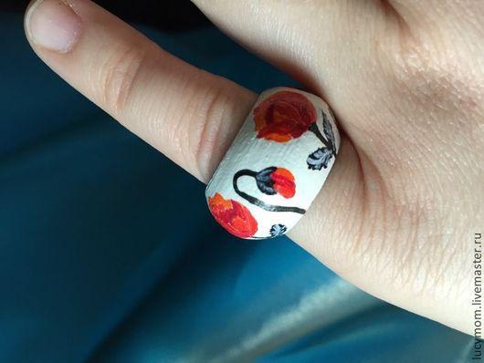 """Кольца ручной работы. Ярмарка Мастеров - ручная работа. Купить Кольцо """"Маки"""". Handmade. Кольцо ручной работы, деревянное кольцо"""