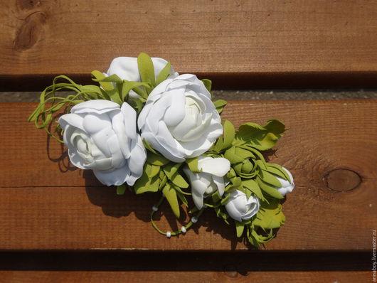 Заколки ручной работы. Ярмарка Мастеров - ручная работа. Купить Заколка для волос - Белые розы (White rose). Handmade. Белый
