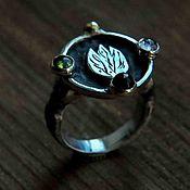 Украшения handmade. Livemaster - original item Silver ring with natural stones: tourmaline and garnet. Women`s. Handmade.