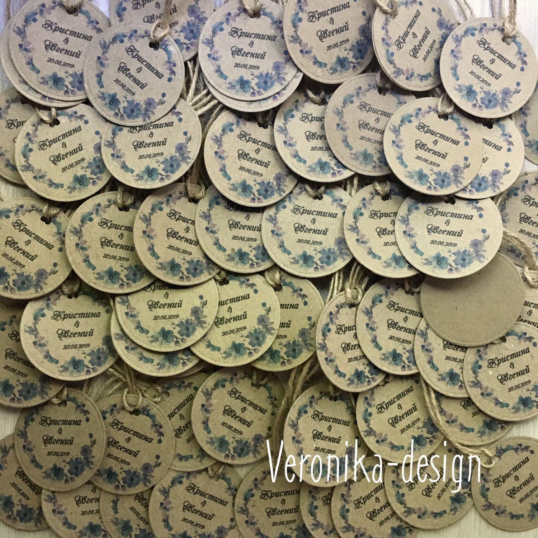Свадебные аксессуары ручной работы. Ярмарка Мастеров - ручная работа. Купить Бирки Крафт круглые с инициалами на свадьбу Flowers. Handmade.