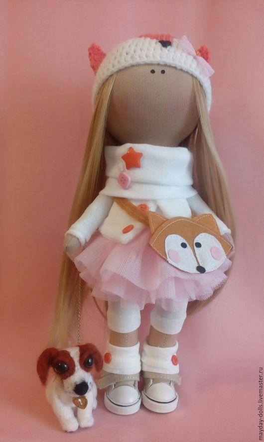 Куклы тыквоголовки ручной работы. Ярмарка Мастеров - ручная работа. Купить Интерьерная текстильная кукла большеножка Лисичка. Handmade. Рыжий