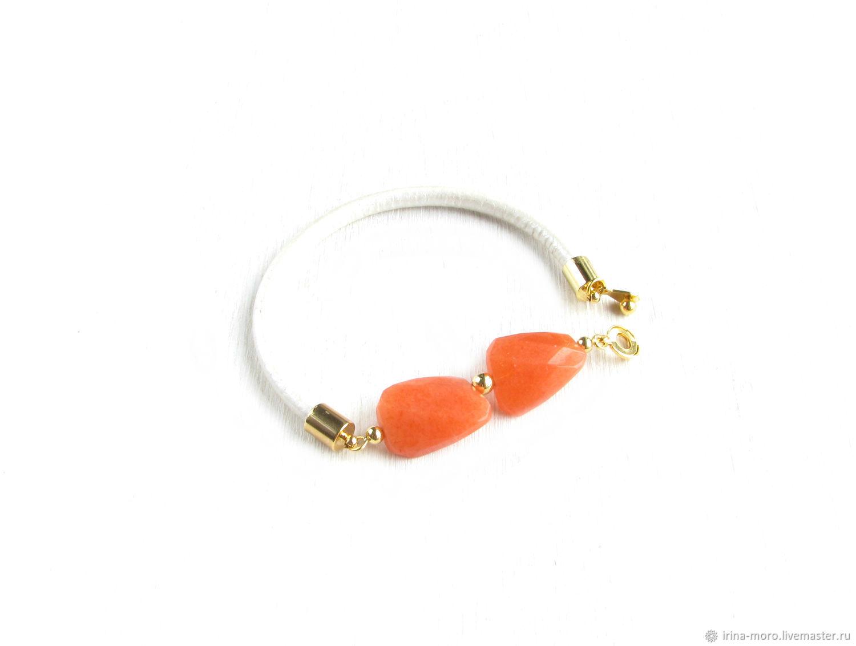 The orange bracelet of jade 'Fantasy'leather bracelet, Bead bracelet, Moscow,  Фото №1