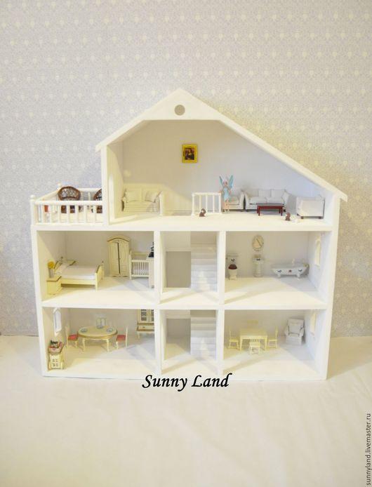 Кукольный дом ручной работы. Ярмарка Мастеров - ручная работа. Купить Кукольный домик №3 большой. Handmade. Белый, игрушечный домик