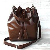 Кожаная сумка торба. Рыжий, коричневый.