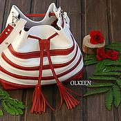 Сумки и аксессуары ручной работы. Ярмарка Мастеров - ручная работа If сумка-торба красно-белая. Handmade.