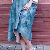 Одежда handmade. Livemaster - original item Skirt felted gray-turquoise