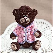 Куклы и игрушки ручной работы. Ярмарка Мастеров - ручная работа Мишка в розовом кардигане. Handmade.