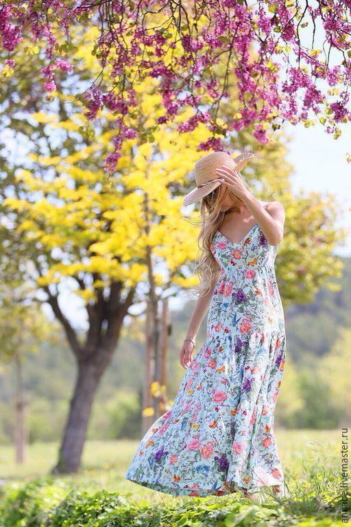 Платья ручной работы. Ярмарка Мастеров - ручная работа. Купить Сарафан Цветы весны Хлопок 100%. Handmade. Сарафан