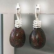 Украшения handmade. Livemaster - original item Jasper earrings English lock silver earrings with stones. Handmade.