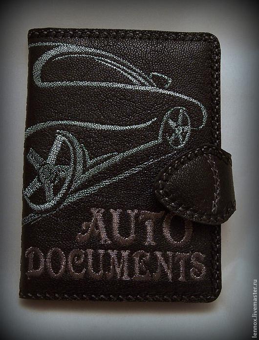 Автомобильные ручной работы. Ярмарка Мастеров - ручная работа. Купить Бумажники водителя для мужчин кожа с вышивкой. Handmade. Подарок водителю