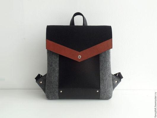 Рюкзаки ручной работы. Ярмарка Мастеров - ручная работа. Купить Черно-серый рюкзак из фетра и натуральной кожи. Handmade. рюкзак