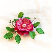 Украшения ручной работы. Ярмарка Мастеров - ручная работа Брошь из шелка Ярко-розовая чайная роза. Handmade.