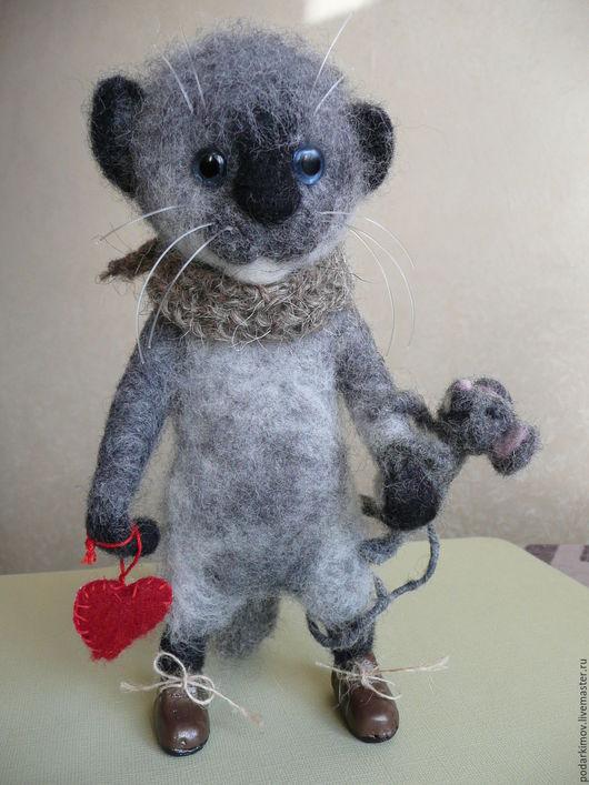 Игрушки животные, ручной работы. Ярмарка Мастеров - ручная работа. Купить Влюбленные....Котик и мышка. Авторская валяная игрушка из шерсти. Handmade.