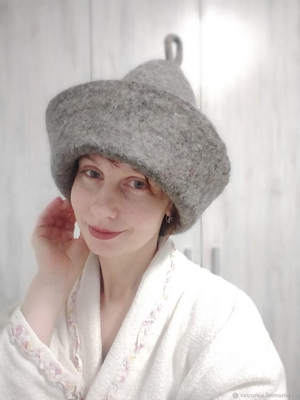 Шапка валяная, банные принадлежности. Банная шапка. Шапка для бани, Шапки, Москва,  Фото №1