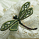 """Brooch """"Green dragonfly """". Barrette beaded. Blue dragonfly, Brooches, Moscow,  Фото №1"""
