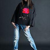 Одежда handmade. Livemaster - original item Black women`s blouse with red rose print - TP0308TR. Handmade.