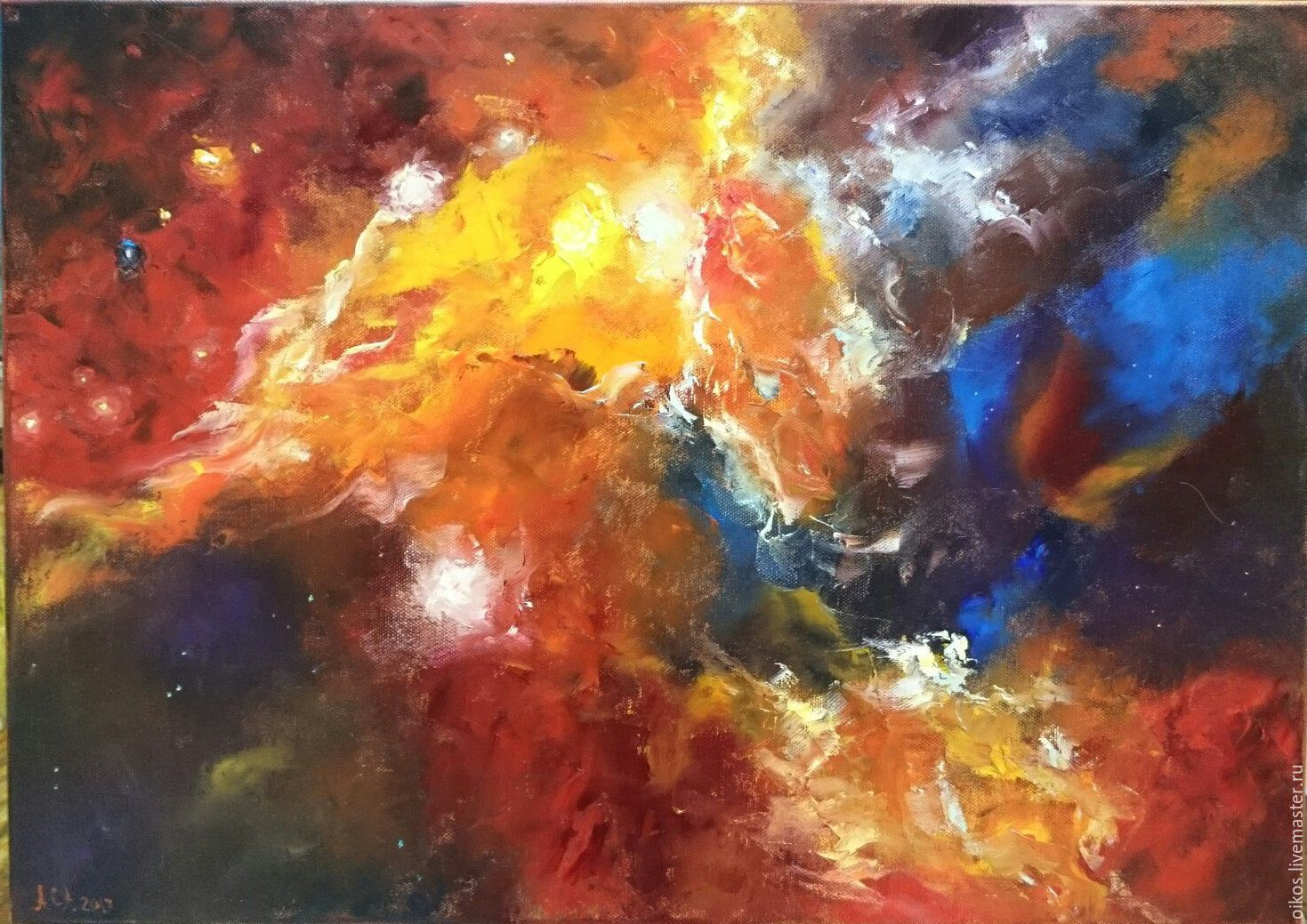 Cosmos oil painting abstract palette knife, Pictures, St. Petersburg,  Фото №1