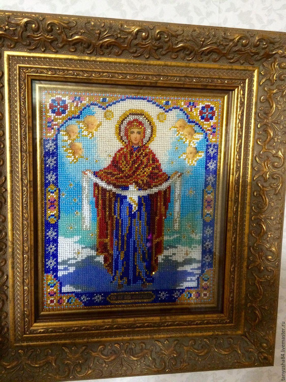 Покрова - икона вышитая бисером, Икона ...: www.livemaster.ru/item/14838651-kartiny-panno-bogoroditsa-pokrova