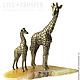 Бронзовые Фигурки Семейства Жирафов на Агате