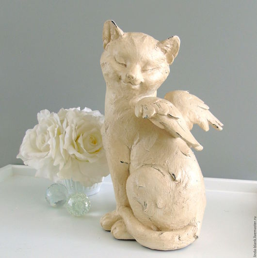 Винтажные предметы интерьера. Ярмарка Мастеров - ручная работа. Купить Фигурка Кот- ангел. Handmade. Кремовый, статуэтка, кошка