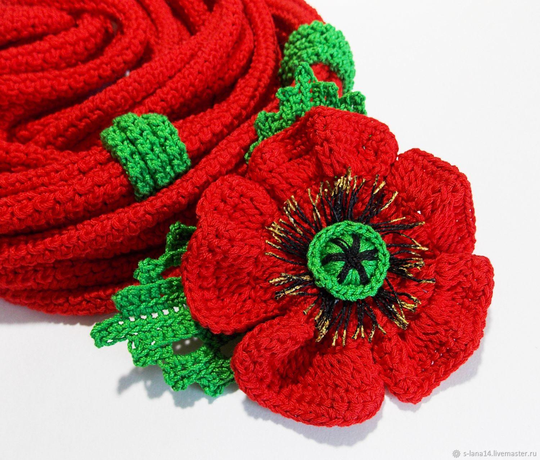 шарфобусы вязаные трансформер колье красные маки с брошью купить в