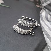Материалы для творчества handmade. Livemaster - original item Earrings with cubic Zirconia 15 mm color platinum (4506). Handmade.
