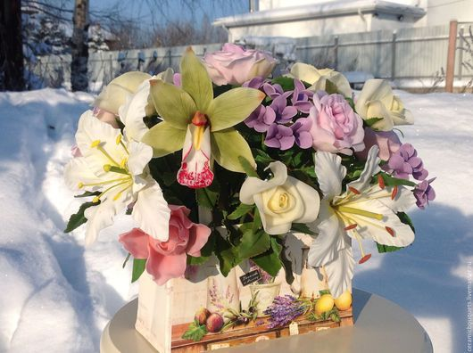 Букеты ручной работы. Ярмарка Мастеров - ручная работа. Купить Сумочка с цветами. Handmade. Бледно-розовый, композиция из цветов
