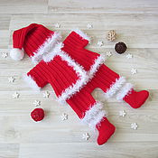 Работы для детей, handmade. Livemaster - original item A Santa suit for a Christmas photo shoot kids red. Handmade.