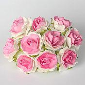 Материалы для творчества ручной работы. Ярмарка Мастеров - ручная работа Роза кудрявая 2 см белый+розовый,1 шт.. Handmade.