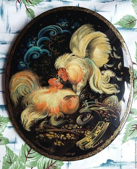 Животные ручной работы. Ярмарка Мастеров - ручная работа. Купить Петушиный бой. Handmade. Петух, сено, палех, лаковая шкатулка