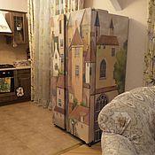 Дизайн и реклама ручной работы. Ярмарка Мастеров - ручная работа Роспись холодильника Домики. Handmade.