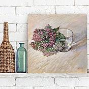 Картины и панно handmade. Livemaster - original item Still life with glass and colors (white, beige, purple, green). Handmade.