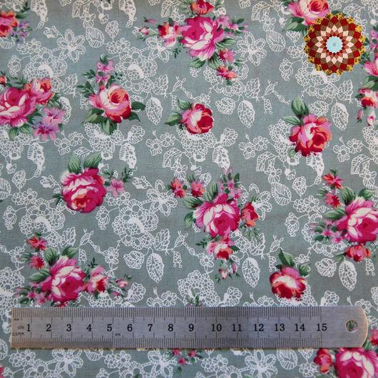 Ткань хлопок `Роза Моника серый`. Код товара: ZT-00030