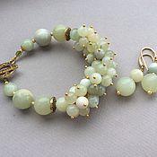 Украшения handmade. Livemaster - original item Bracelet and earrings MINT jade. Handmade.