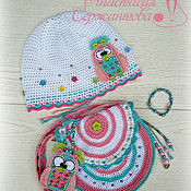 Работы для детей, handmade. Livemaster - original item Summer hat for girls and handbag