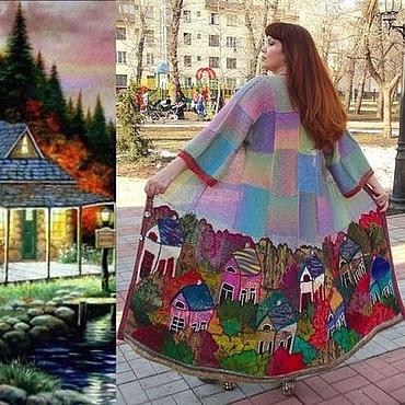 """Одежда ручной работы. Ярмарка Мастеров - ручная работа Пальто """"Домики 3D""""- трапеция - шанель. Handmade."""