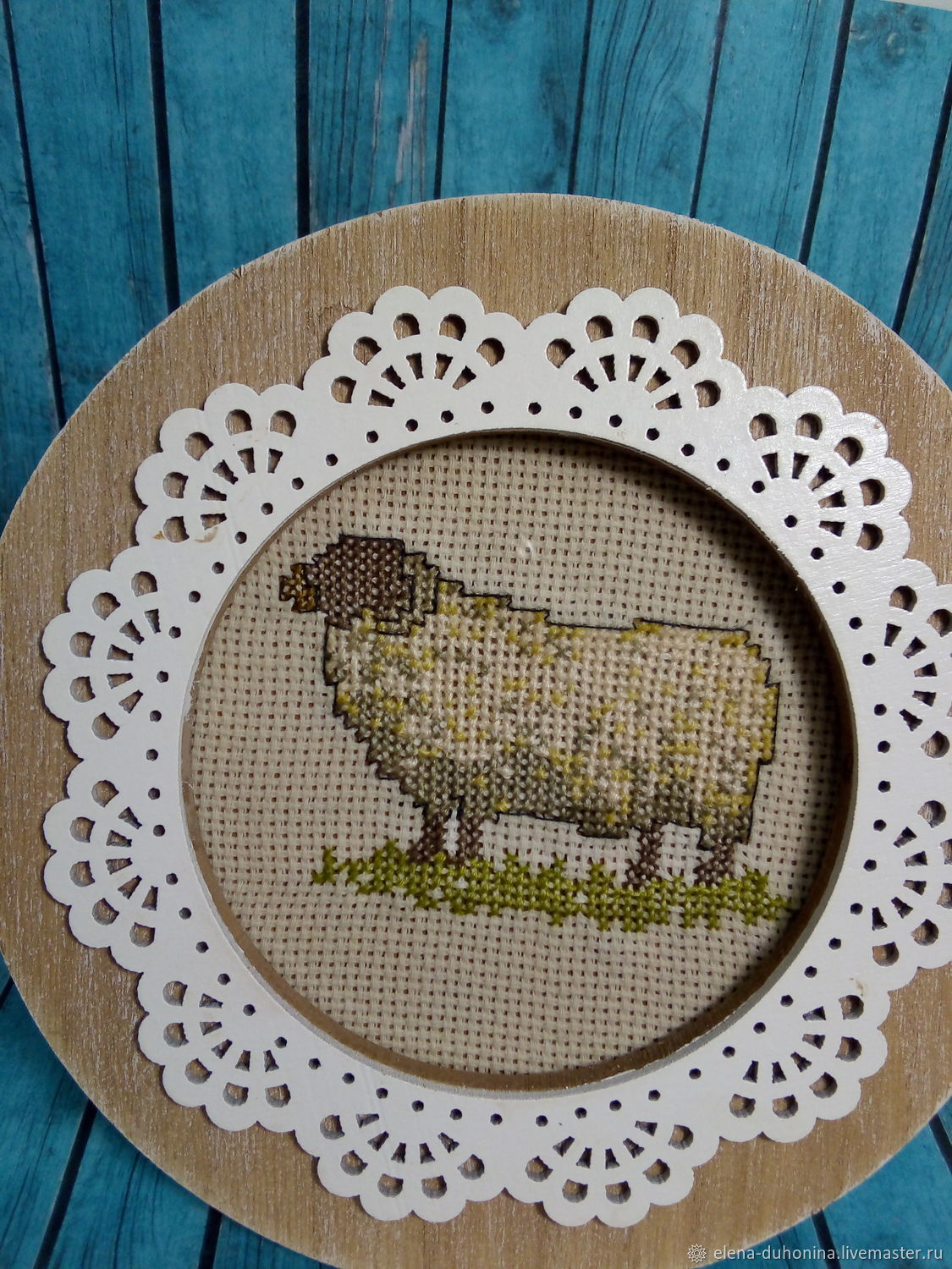 Decorative frame with embroidery 'Lamb', Photo frames, Tyumen,  Фото №1