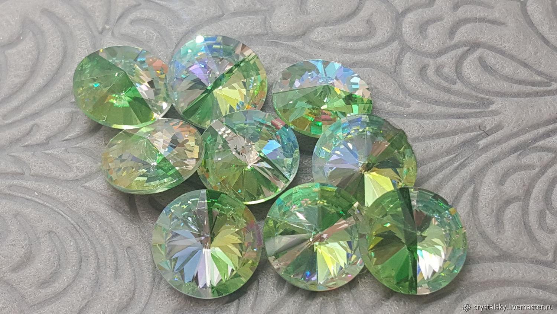 Crystal rhinestones Rivoli 12mm Premium, Duo Color 'Peridot', Rhinestones, Jerusalem,  Фото №1