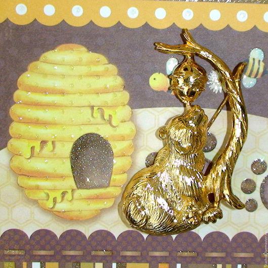 """Винтажные украшения. Ярмарка Мастеров - ручная работа. Купить Брошь """"Мишка и пчелкин мед"""" под золото (RA США). Handmade."""