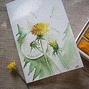 Открытки handmade. Livemaster - original item Postcard Favourite dandelions... watercolor... Handmade.