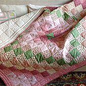 Для дома и интерьера ручной работы. Ярмарка Мастеров - ручная работа Лоскутное одеяло стеганое из хлопка 185х145 Нежный Прованс. Handmade.
