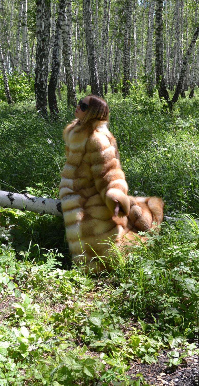Шуба из меха сибирской рыжей лисы. Поперечная.Без вставок, Шубы, Омск,  Фото №1